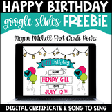Happy Birthday Google Slides Freebie   Distance Learning
