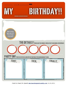 Happy Birthday Graphic Organizer Extreme Edition: FREEBIE!