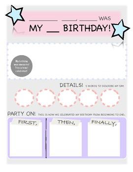 Happy Birthday Graphic Organizer Star Edition: FREEBIE!