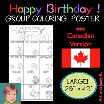 Happy Birthday Group Coloring Poster: ***Canadian Version***