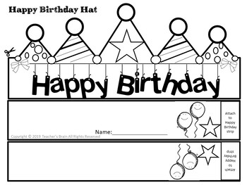 graphic relating to Brain Hat Printable titled Delighted Birthday Hat Editable Pencil Toppers Certification