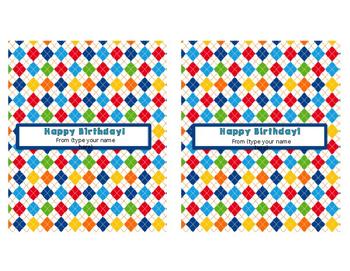 Happy Birthday Hershey Bar Wrappers