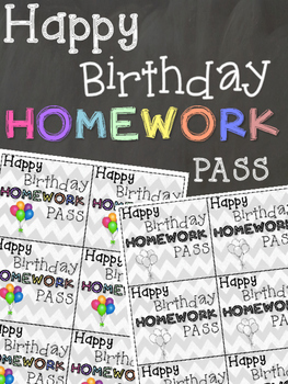 Happy Birthday Homework Pass