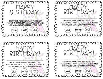 Happy Birthday Homework Pass - Freebie!