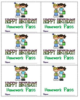 happy birthday homework passes by sandy scott teachers pay teachers. Black Bedroom Furniture Sets. Home Design Ideas