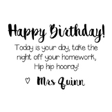 Happy Birthday Homework Passes