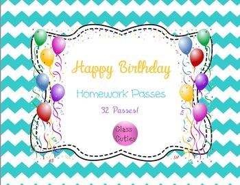 Happy Birthday Homework Passes (Class Set of 32)