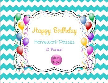Happy Birthday Homework Passes (Class Set of 32)