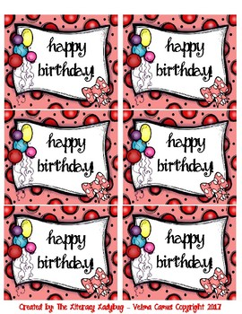 Birthday Bag/Cup Labels (pink)