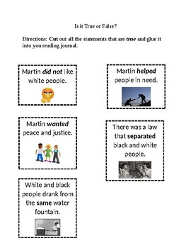 Happy Birthday Martin Luther King Jr. Vocabulary Fill-in