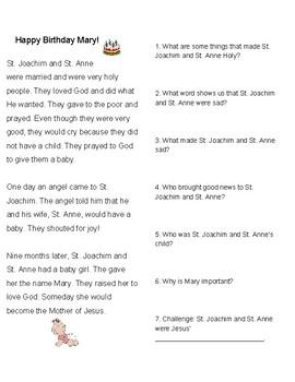 Happy Birthday Mary Worksheet: Nativity of Mary