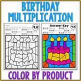 Happy Birthday Math | Multiplication Color by Number Worksheets