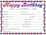 Happy Birthday Memory Page