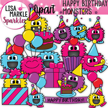 Happy Birthday Monsters Clipart