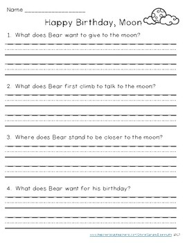 happy birthday moon reading comprehension by sarah eisenhuth tpt. Black Bedroom Furniture Sets. Home Design Ideas