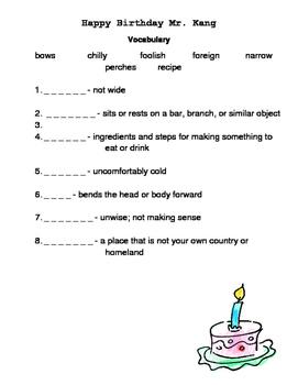 Happy Birthday Mr. Kang Reading Street Vocabulary