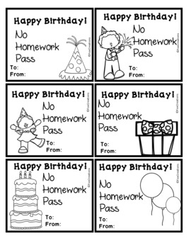 Happy Birthday ~ No Homework Passes