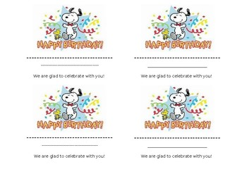Happy Birthday Note/Label (Peanuts Style)