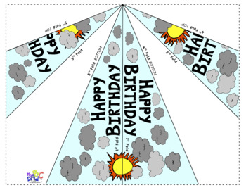 Happy Birthday Paper Airplanes with Sun and Clouds