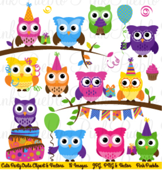 Happy Birthday Party Owl Clipart Clip Art