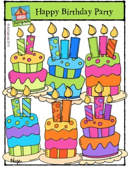 Happy Birthday Party {P4 Clips Trioriginals Digital Clip Art}