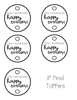 Happy Birthday Pencil Toppers