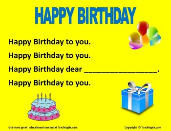 Happy Birthday Poster  A great poster with lyrics to have up in your class