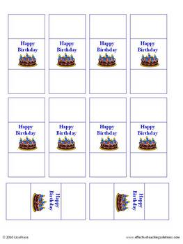 Happy Birthday! Print Certificate, Candy Wraps, Bookmarks, & Cards