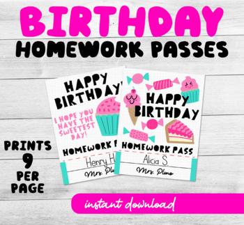 Happy Birthday Printable Homework Pass Cute Cupcake Theme