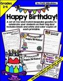 Happy Birthday! Printable keepsakes for your students on their birthday!