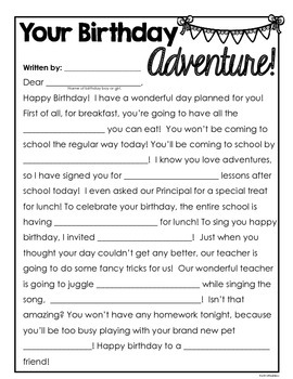 Happy Birthday! Printable keepsakes for your students on their birthday!