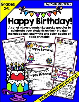 Happy Birthday! Printable keepsakes for your students on t
