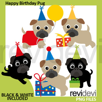 Happy Birthday Pug Clipart By Revidevi