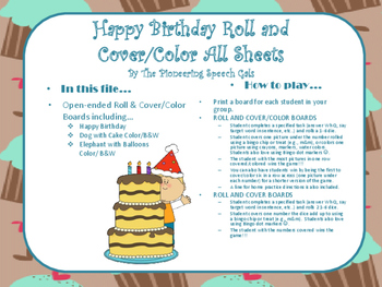 Happy Birthday Roll and Cover/Color Sheets