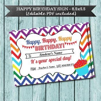 Happy Birthday Sign, Editable PDF, Chevron Rainbow, Student Birthdays