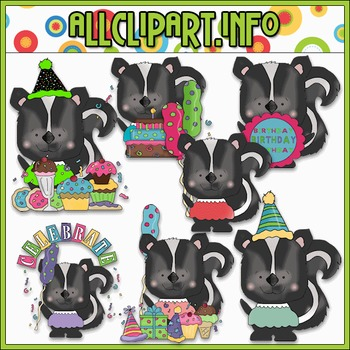 Happy Birthday Skunks Clip Art - Cheryl Seslar Clip Art