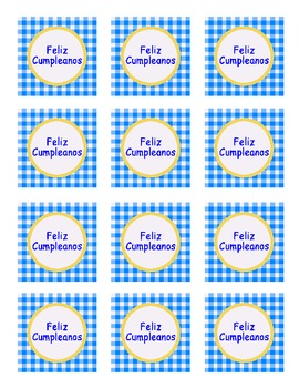 """Happy Birthday"" Spanish version boy colors blue/yellow PARTY TAGS"