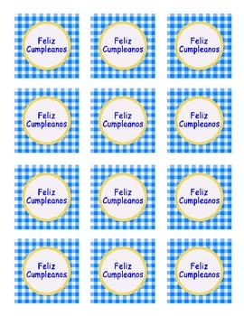 """Happy Birthday"" Spanish version boy colors blue/yellow PA"