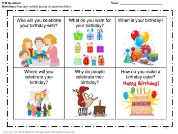 Speech Therapy Happy Birthday Language and Articulation Bundle