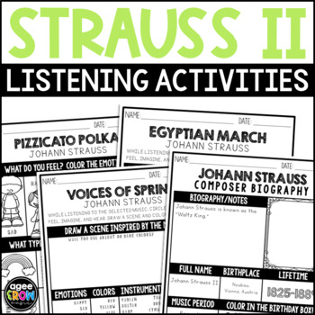 Happy Birthday Strauss!  October - Music Handwriting, Listening Sheets, Coloring
