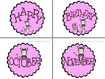Happy Birthday Student Display Zebra Classroom