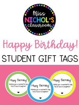 Happy Birthday! Student Gift Tag EDITABLE