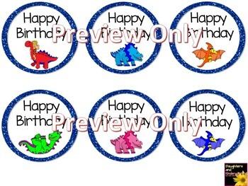Happy Birthday Tags ~ Dinosaurs