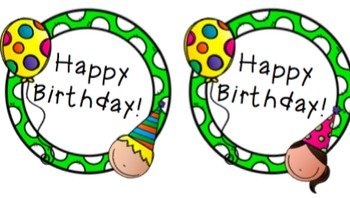 Happy Birthday Tags / Flags for Pencils, Hats, or Straws