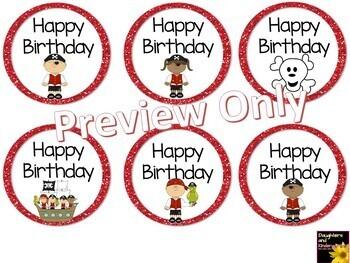 Happy Birthday Tags ~ Pirates