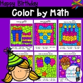 Happy Birthday Themed Color by Code Math Activities