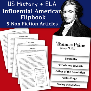 Happy Birthday Thomas Paine Informational Text and Graphic Organizer