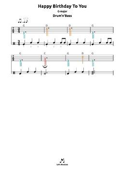 Happy Birthday To You (G) tabs 4 recorder ocarina guitar ukulele harmonica drums