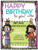 Happy Birthday To You!! Let's Celebrate Editable Certificates