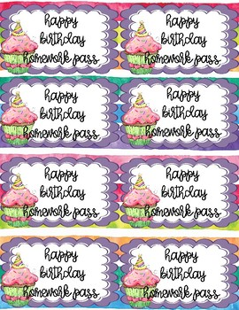 Happy Birthday Watercolor-Theme Posters, Note Cards, Homework Passes Mini-bundle